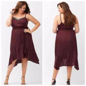 Lane Bryant Embellished Burgundy Slip Dress 24